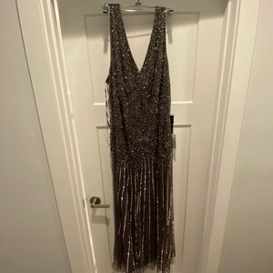 Pizarro Nights Grey Silver Beaded Gown Plus Size